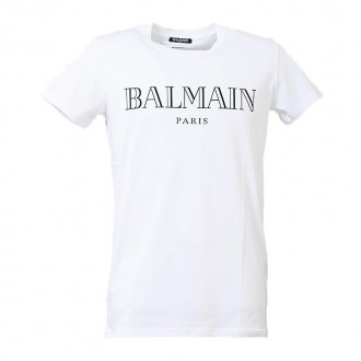 WHITE T-SHIRT WITH BLACK PRINTED LOGO