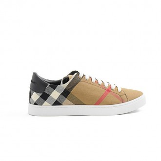 BEIGE COTTON AND LEATHER CHECKED SNEAKER