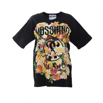 BLACK T-SHIRT WITH FLORAL PRINTED LOGO