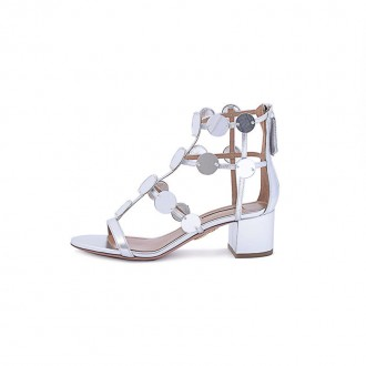 SILVER-TONE LEATHER CHUNKY HEEL SANDAL