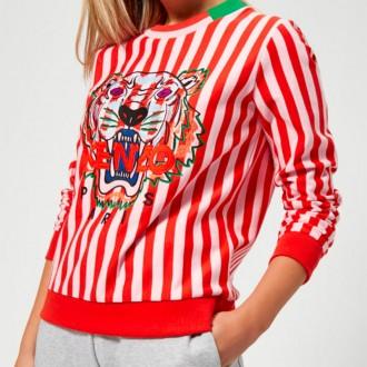 Women's Stripe Tiger Light Molleton Sweatshirt - Medium Red