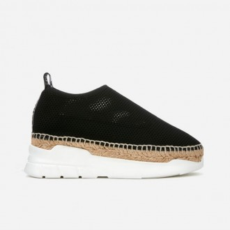 Women's Sporty Runner Espadrilles - Black