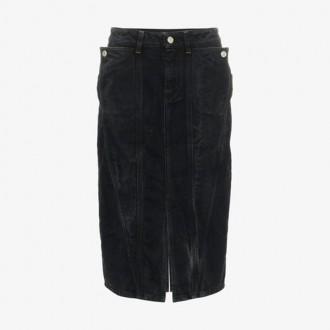 High Waist Panelled Knee Length Denim Skirt