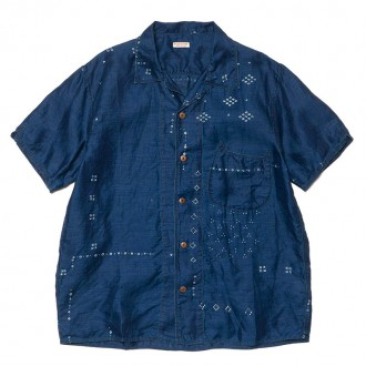 French Cloth Linen Bandana Dye Aloha Shirt Indigo