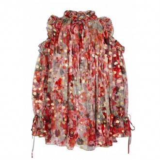 Printed open-shoulder chiffon blouse