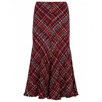 High-waisted bouclé tweed midi skirt