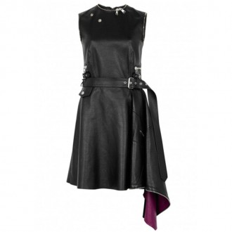 Black asymmetric leather dress