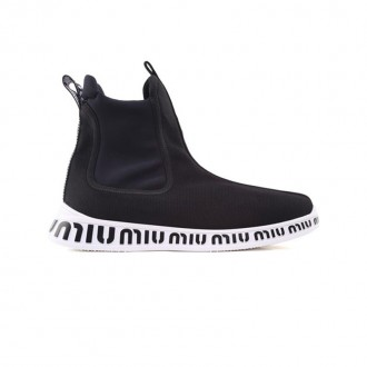 Logo knit and neoprene high-top sock trainers