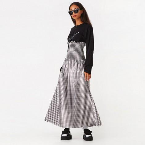 Poplin Checkered Long Dress - Check/Black