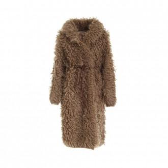 Coat In Tobacco-colored Fur Stitch Mohair