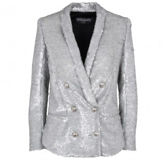 Silver double-breasted blazer