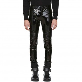 Black Vinyl Biker Trousers