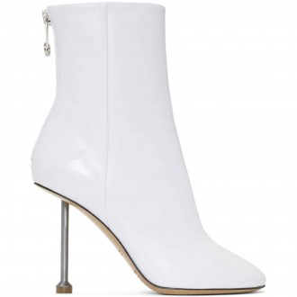 White nail ankle-boots