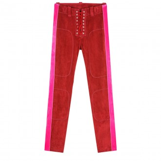 Burgundy Skinny leather trousers