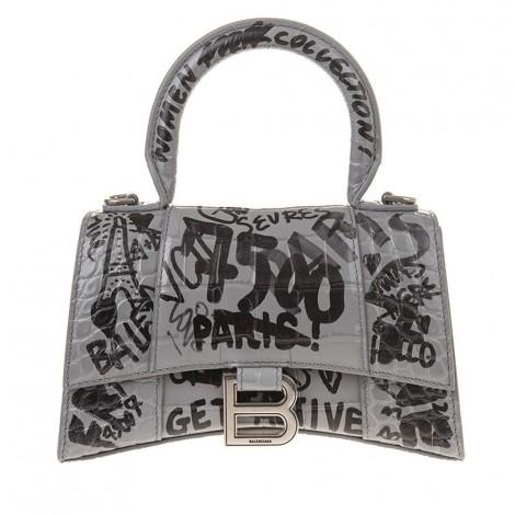 Top Handle Hourglass Xs Gray Graffiti Crocodile Effect Bag