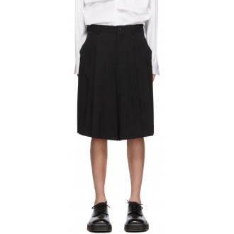 Black Wool Gabardine Shorts