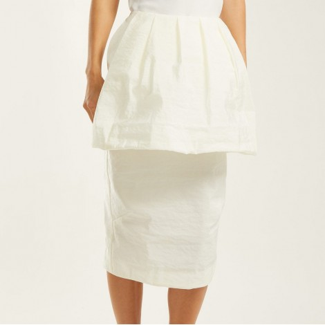 Puffed-front poplin pencil skirt