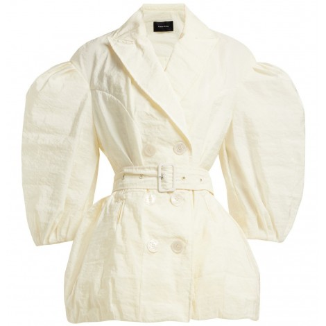 Double-breasted ballooned-sleeve belted jacket