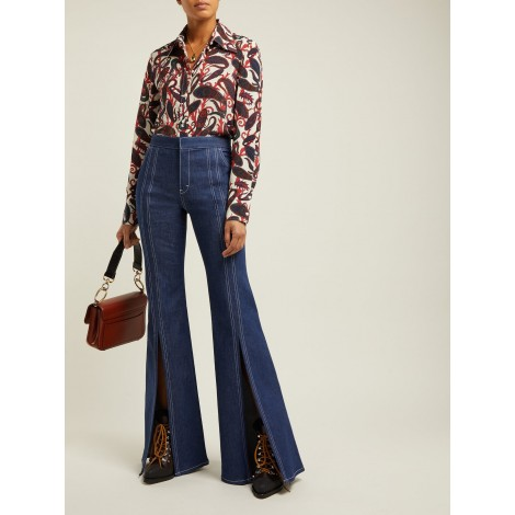 High-rise open-leg flared jeans