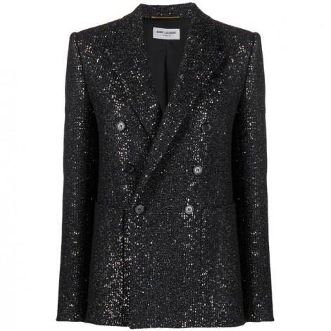 DOUBLE-BREASTED WOMAN JACKET IN BLACK WOOL TWEED WITH SEQUINS