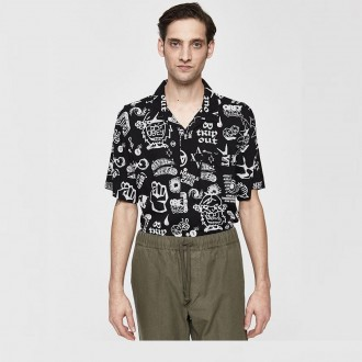 Flash button up shirt in black multi