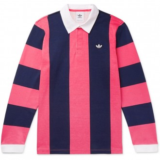 Twill-trimmed striped rugby shirt