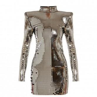 Mirrored high-neck mini dress