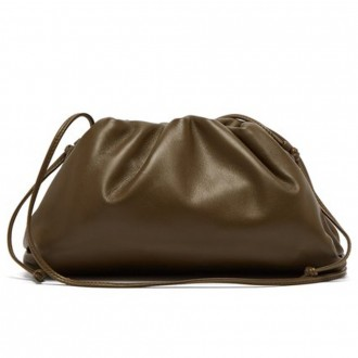 gathered leather clutch