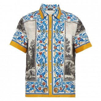 Temple & majolica-print silk shirt
