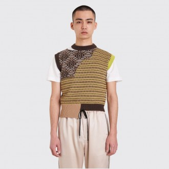 Ross knitted patchwork vest