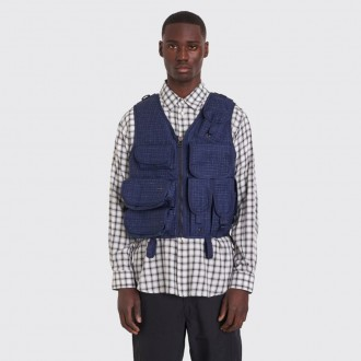 Man wool vest checkered navy