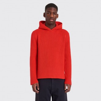 Knitted sweater with hoodie red