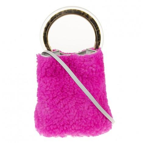 Pink Lamb Fur Bucket Bag