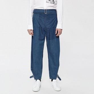 Shaded fold front denim trouser