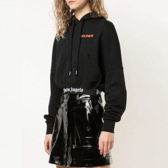 cropped over logo hoody