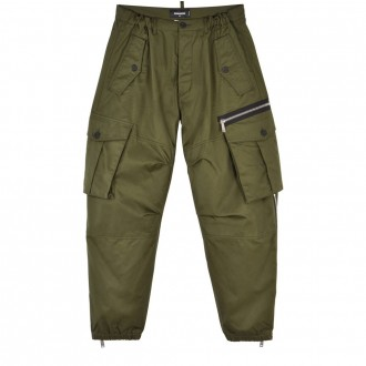 Military green cargo trousers