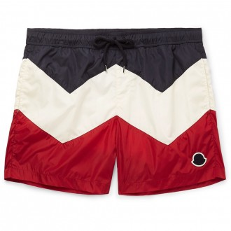 Mid-length colour-block swim shorts