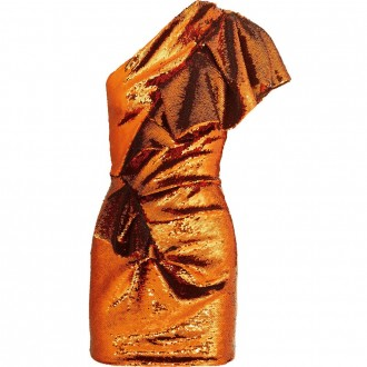 One-shoulder sequined mini dress