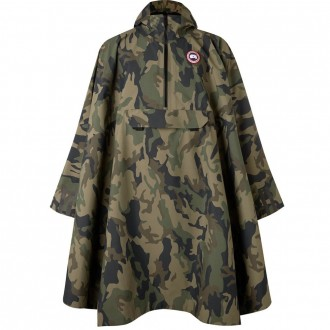 Field camouflage-print shell poncho