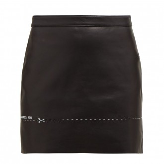 Embroidered leather mini skirt