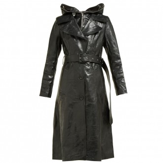 Masked leather trench coat