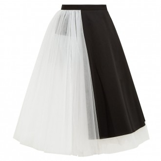 Panelled wool and tulle midi skirt