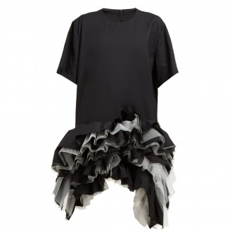 Ruffled tulle-tiered wool dress