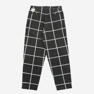 grid denim wide chino trouser
