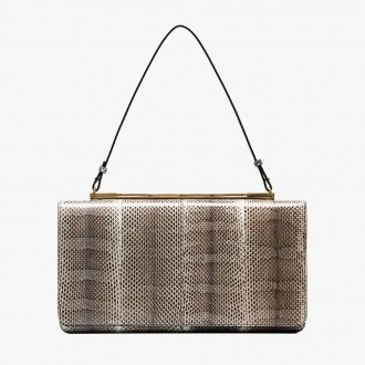 cache snakeskin clutch bag