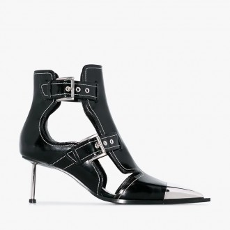 buckle-up patent ankle boots