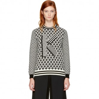 Black & Ivory Fairisle 'K' Sweater