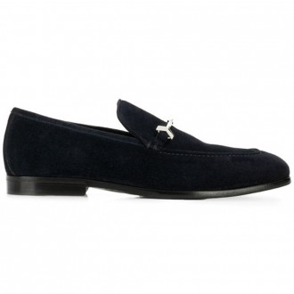 Navy fine suede loafers