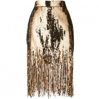 Shredded sequin skirt
