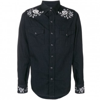 Denim shirt with rose embroidery